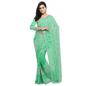 Green Festive Wear Embroidered Georgette Saree