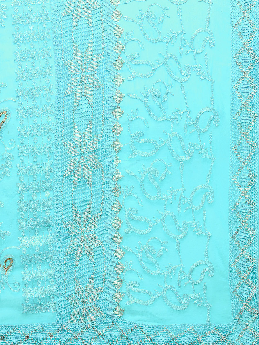 Sky Blue Festive Wear Embroidered Georgette Saree