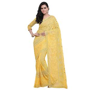 Yellow Festive Wear Embroidered Georgette Saree