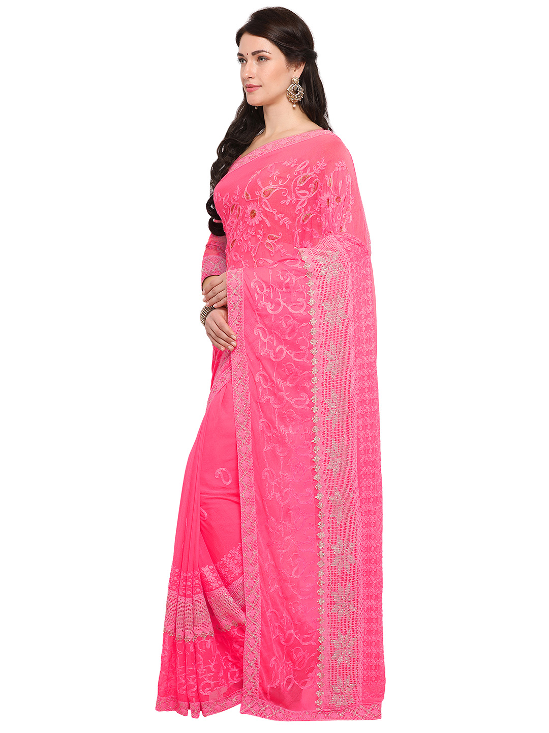 Pink Festive Wear Embroidered Georgette Saree