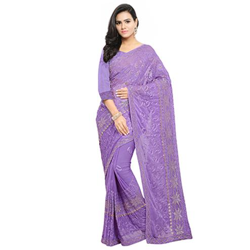 Purple Festive Wear Embroidered Georgette Saree