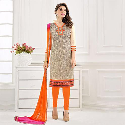 Grey - Cream Chanderi Dress Material