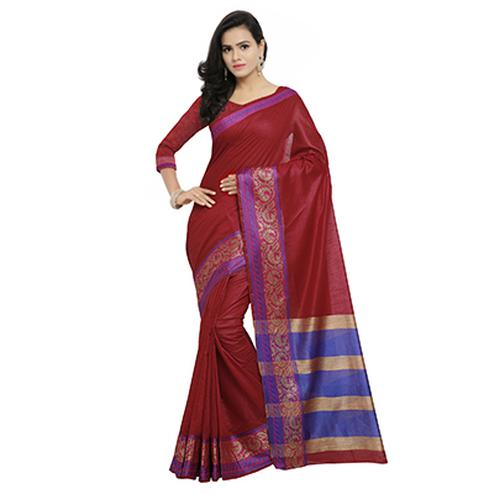 Maroon Festive Wear Banarsi Cotton Saree