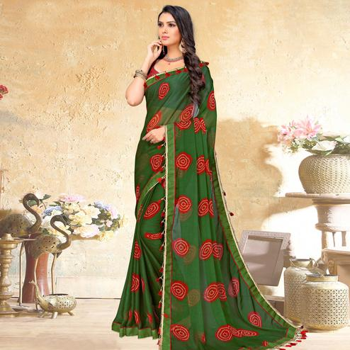 Intricate Mehendi Green Colored Casual Wear Printed Chiffon Saree