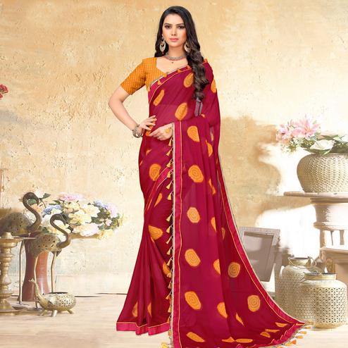 Arresting Dark Pink Colored Casual Wear Printed Chiffon Saree