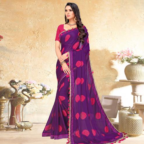 Desirable Purple Colored Casual Wear Printed Chiffon Saree