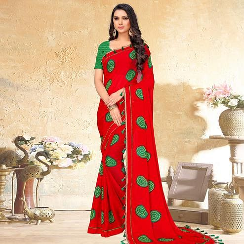 Sophisticated Red Colored Casual Wear Printed Chiffon Saree