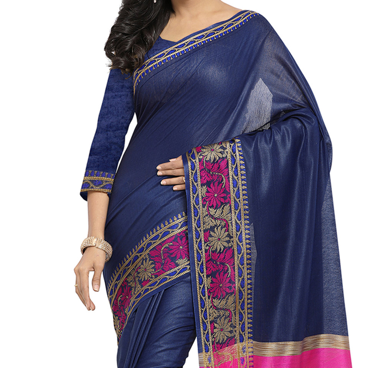 Navy Blue Festive Wear Banarsi Cotton Saree