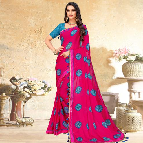 Elegant Pink Colored Casual Wear Printed Chiffon Saree