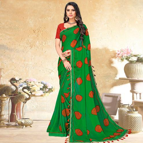 Radiant Green Colored Casual Wear Printed Chiffon Saree