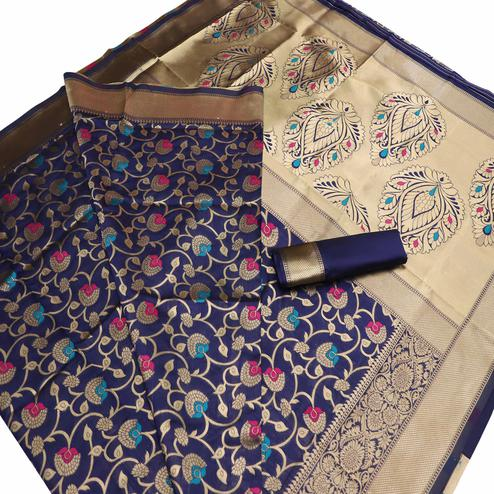 Adorable Navy Blue Colored Festive Wear Woven Banarasi Art Silk Saree