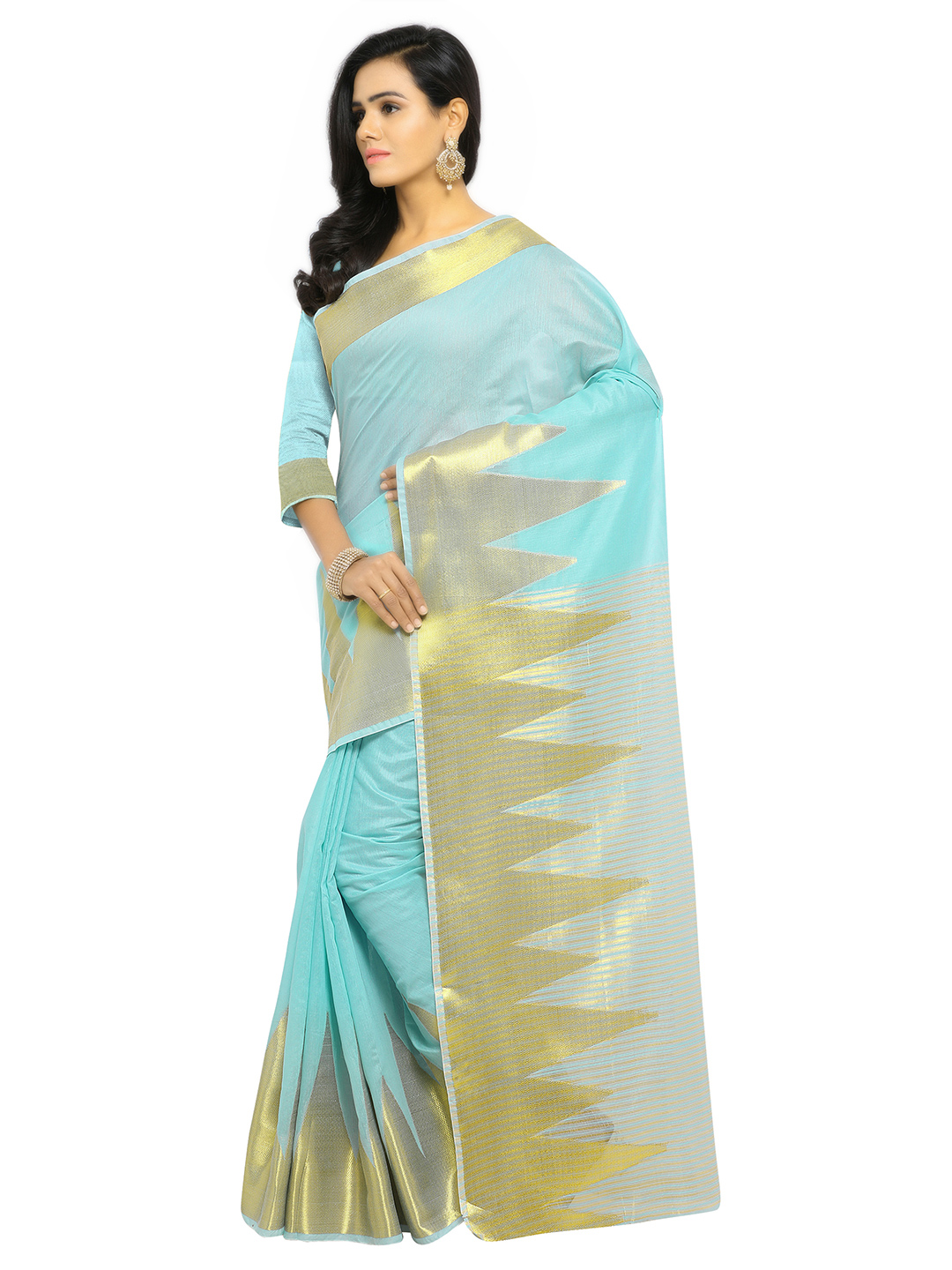 Sky Blue Festive Wear Banarsi Cotton Saree