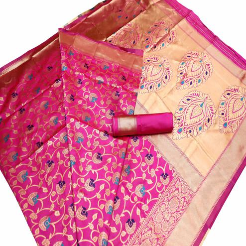 Graceful Pink Colored Festive Wear Woven Banarasi Art Silk Saree