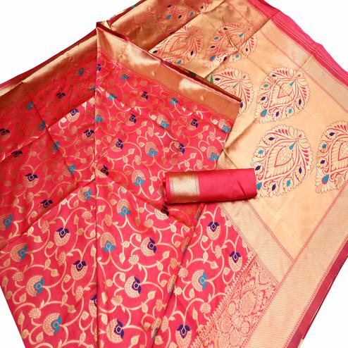 Charming Dark Peach Colored Festive Wear Woven Banarasi Art Silk Saree
