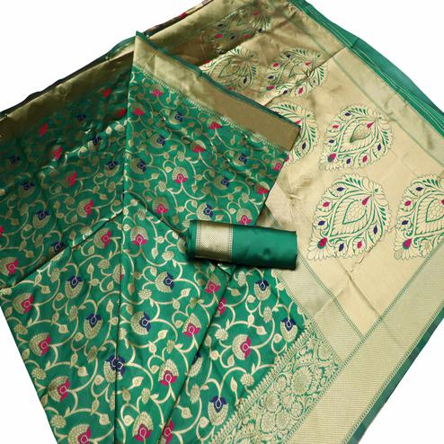 Radiant Green Colored Festive Wear Woven Banarasi Art Silk Saree