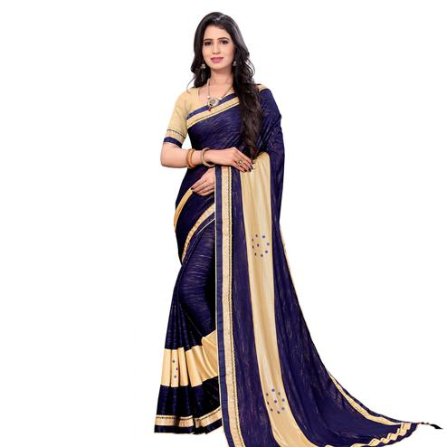 Adorable Blue Colored Party Wear Lycra Blend Saree