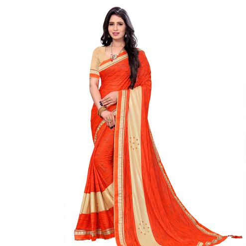 Glorious Orange Colored Party Wear Lycra Blend Saree