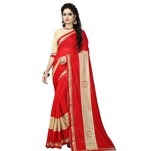 Attractive Red Colored Party Wear Lycra Blend Saree
