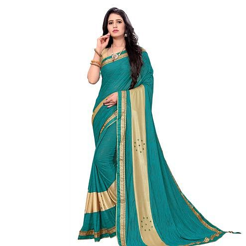 Beautiful Sky Blue Colored Party Wear Lycra Blend Saree