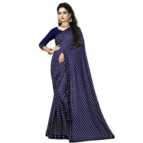 Graceful Blue Colored Party Wear Foil Print Lycra Blend Saree