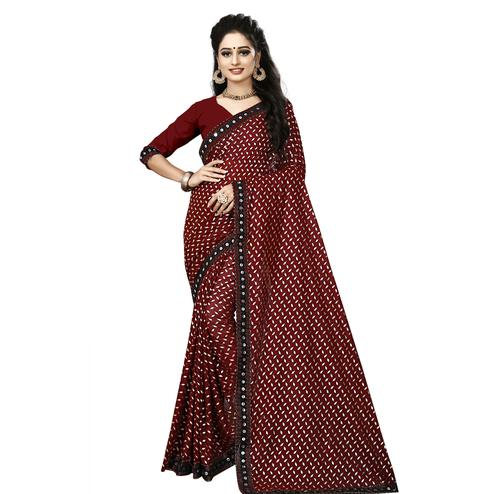 Blooming Brown Colored Party Wear Foil Print Lycra Blend Saree