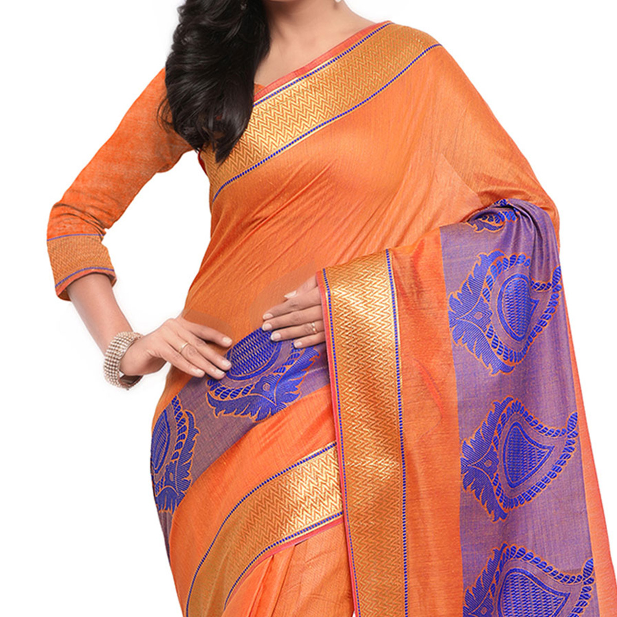 Orange Festive Wear Banarsi Cotton Saree
