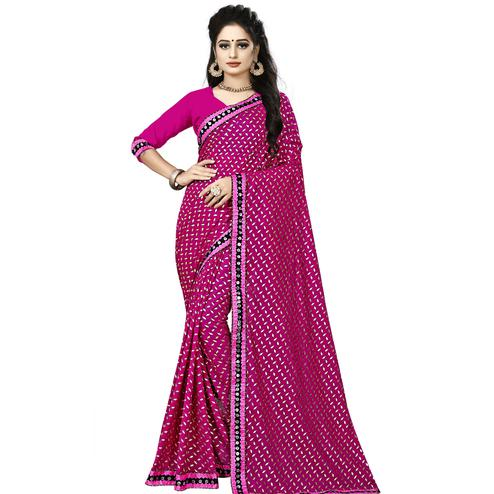 Delightful Purple Colored Party Wear Foil Print Lycra Blend Saree