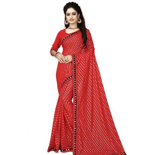 Engrossing Red Colored Party Wear Foil Print Lycra Blend Saree