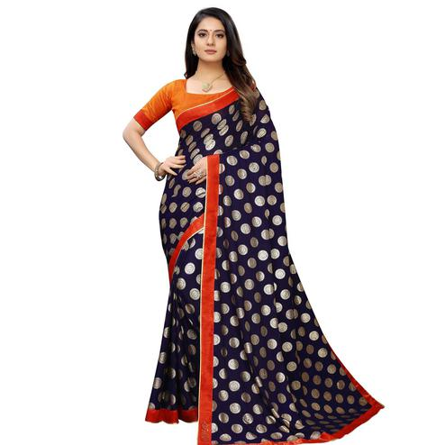 Captivating Blue Colored Party Wear Foil Print Lycra Blend Saree