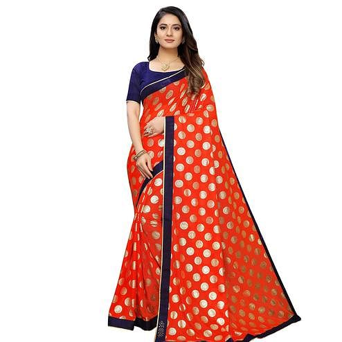 Innovative Orange Colored Party Wear Foil Print Lycra Blend Saree