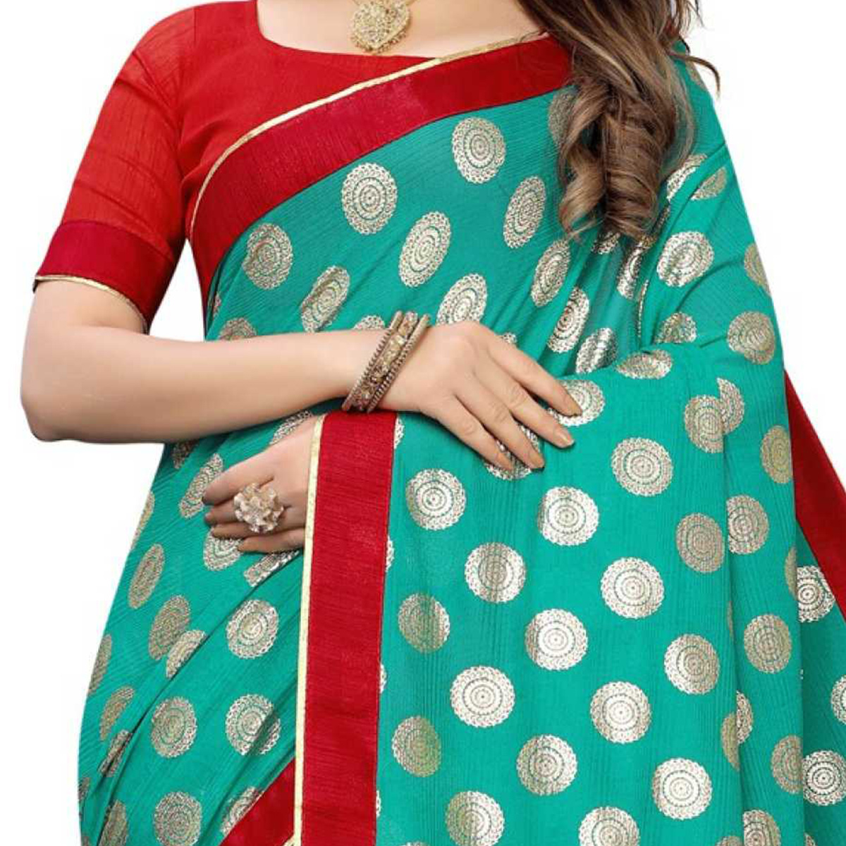 Eye-catching Rama Green Colored Party Wear Foil Print Lycra Blend Saree