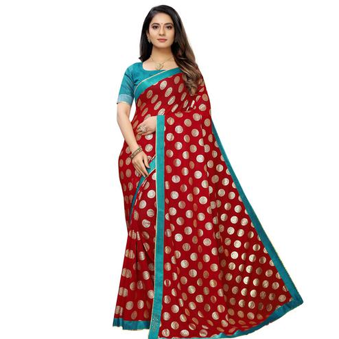 Fantastic Red Colored Party Wear Foil Print Lycra Blend Saree