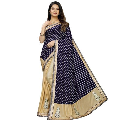 Amazing Blue Colored Party Wear Foil Print Lycra Blend Half & Half Saree