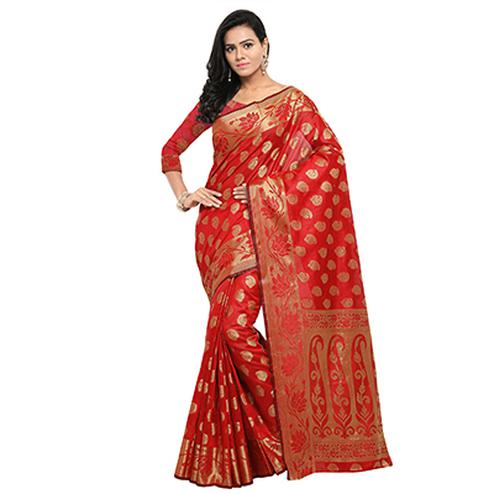 Red Festive Wear Banarsi Art Silk Saree