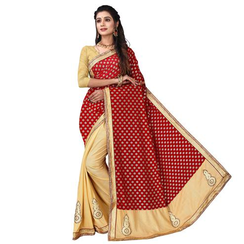 Imposing Red Colored Party Wear Foil Print Lycra Blend Half & Half Saree