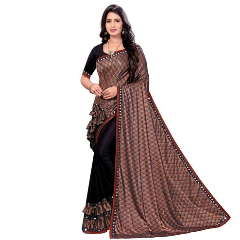Lovely Brown Colored Party Wear Printed Lycra Blend Half & Half Saree