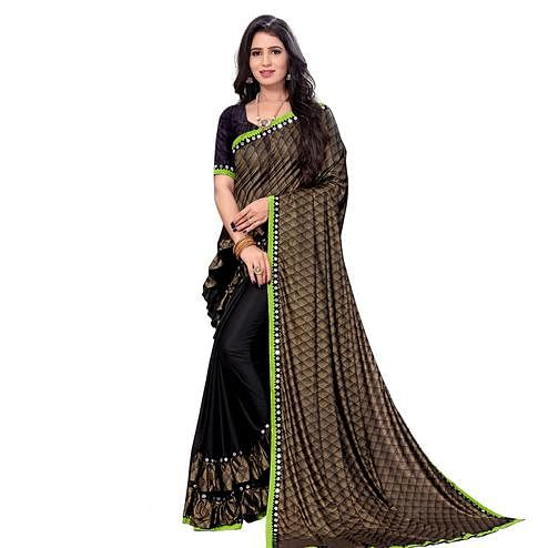 Majesty Green Colored Party Wear Printed Lycra Blend Half & Half Saree