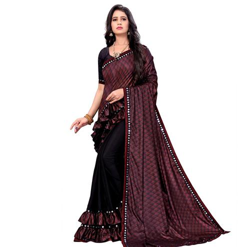 Impressive Maroon Colored Party Wear Printed Lycra Blend Half & Half Saree