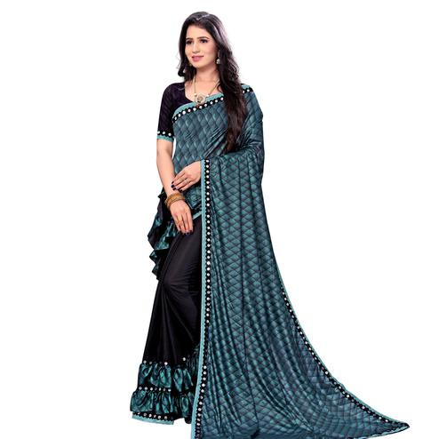 Mesmerising Sky Blue Colored Party Wear Printed Lycra Blend Half & Half Saree
