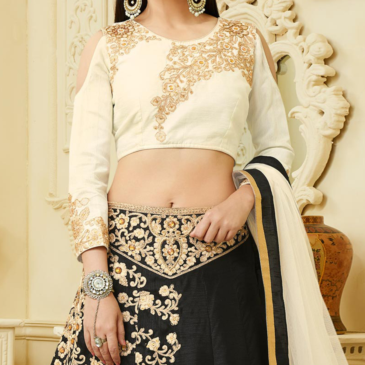 Gorgeous Black Designer Embroidered Mulberry Silk Lehenga Choli
