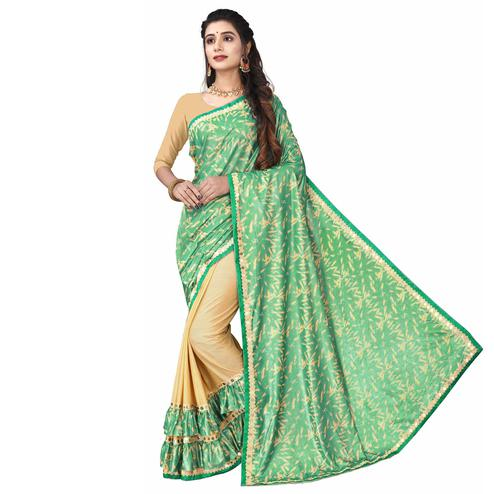 Dazzling Green Colored Party Wear Printed Lycra Blend Half & Half Saree