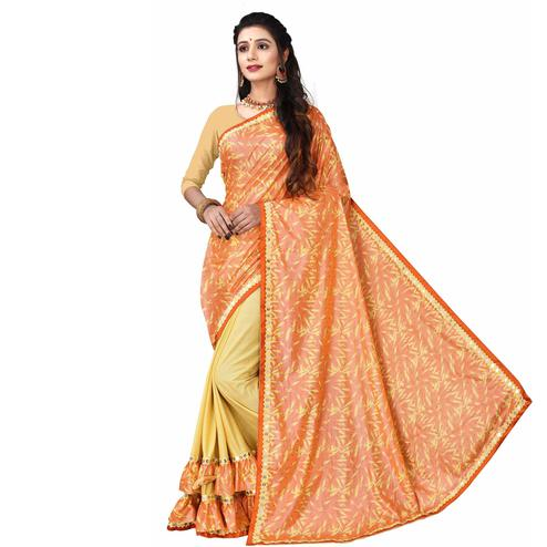 Surpassing Orange Colored Party Wear Printed Lycra Blend Half & Half Saree