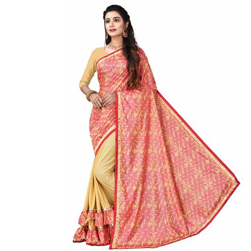 Intricate Pink Colored Party Wear Printed Lycra Blend Half & Half Saree