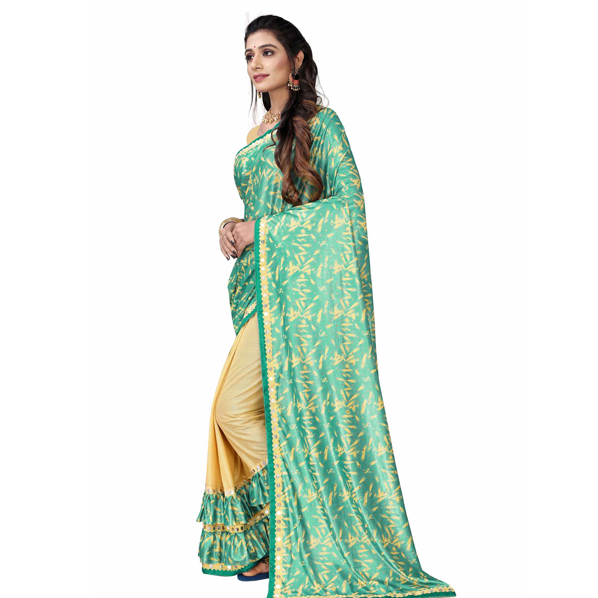 Arresting Rama Green Colored Party Wear Printed Lycra Blend Half & Half Saree