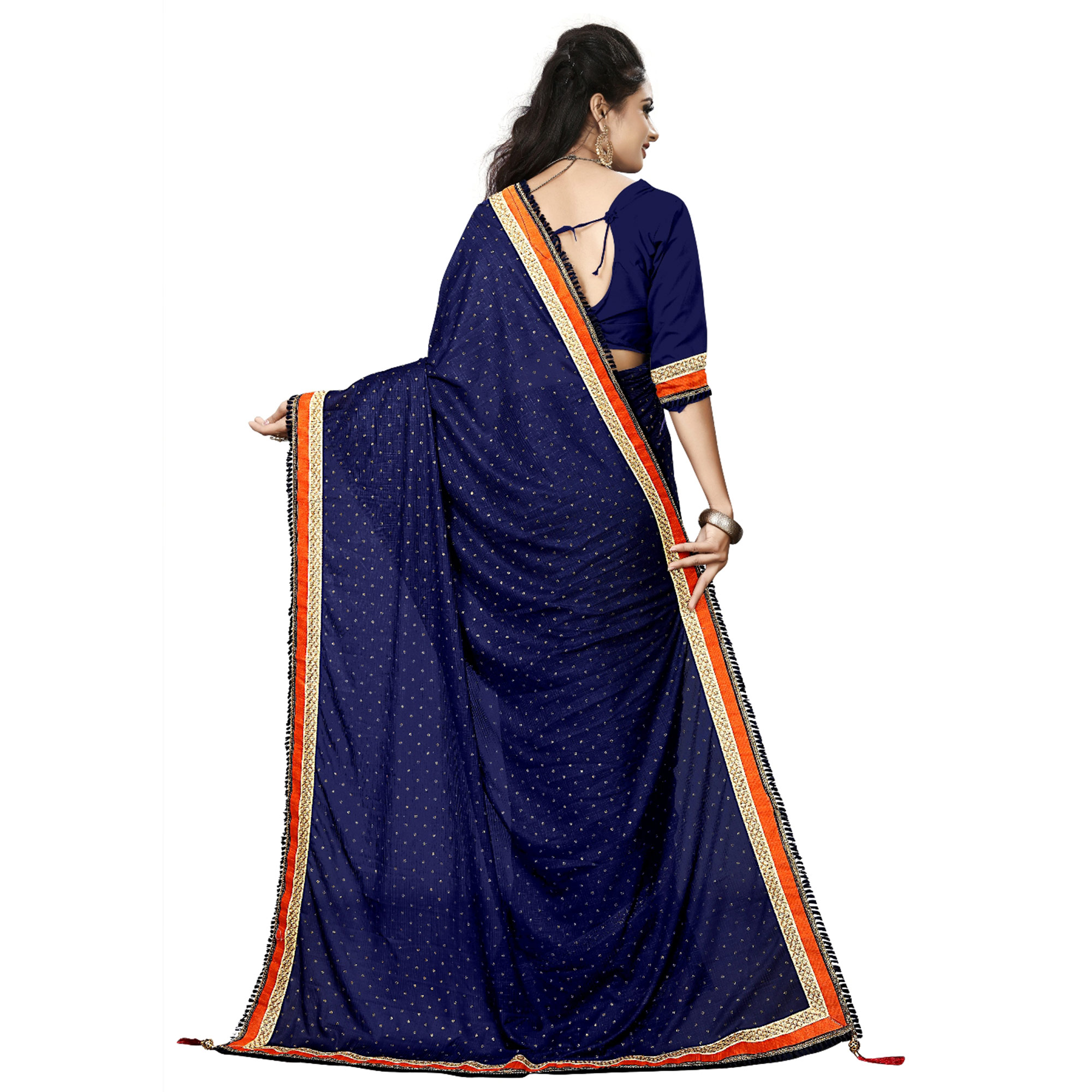 Desirable Blue Colored Party Wear Lycra Blend Saree