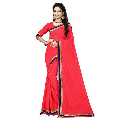 Exotic Pink Colored Party Wear Lycra Blend Saree