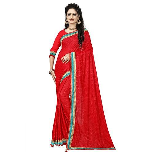 Trendy Red Colored Party Wear Lycra Blend Saree