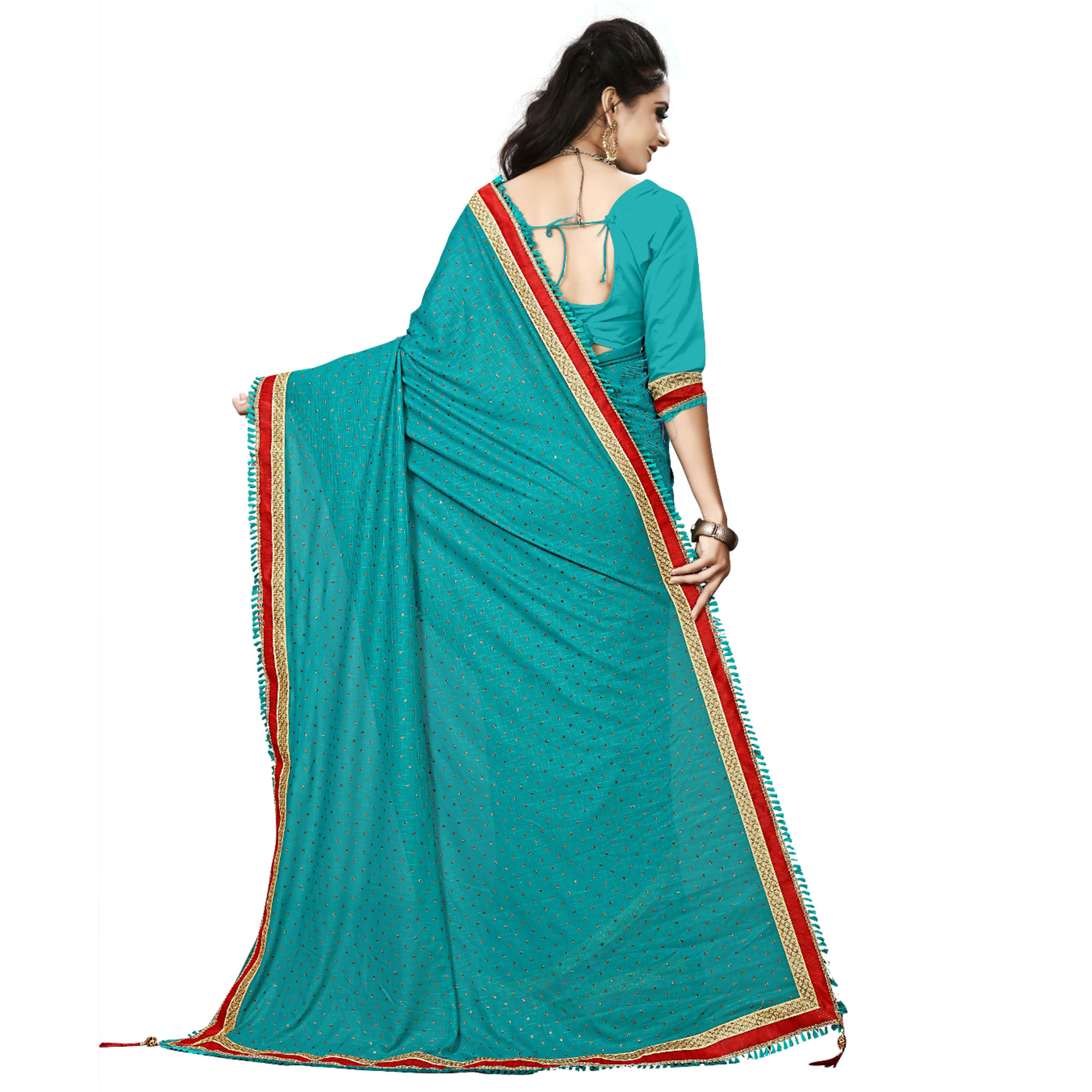 Elegant Sky Blue Colored Party Wear Lycra Blend Saree