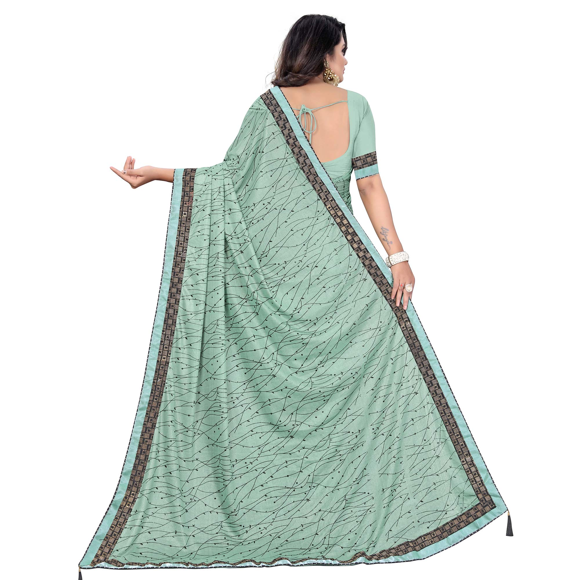 Radiant Blue Colored Party Wear Printed Lycra Blend Saree
