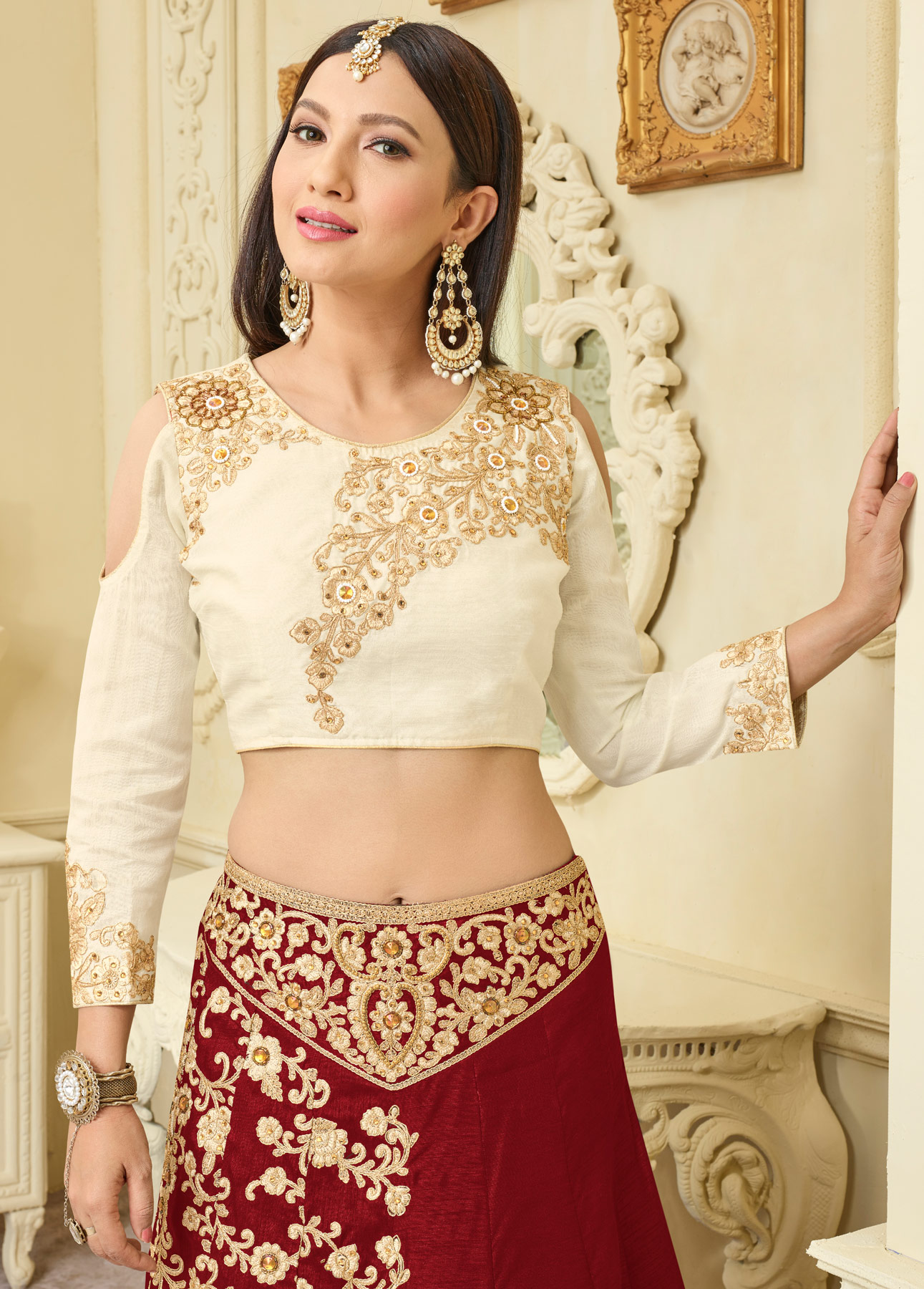 Gorgeous Maroon Designer Embroidered Mulberry Silk Lehenga Choli